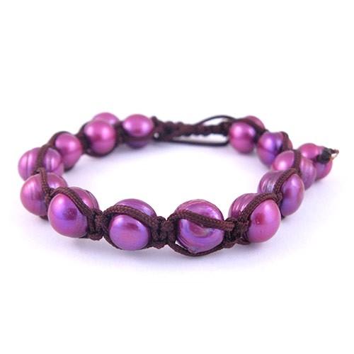 848bfe013 Shamballa náramek Fialové říční perly | Stylové náramky NAKY